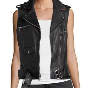 Sam Edelman Black Leather Moto Vest Size Small